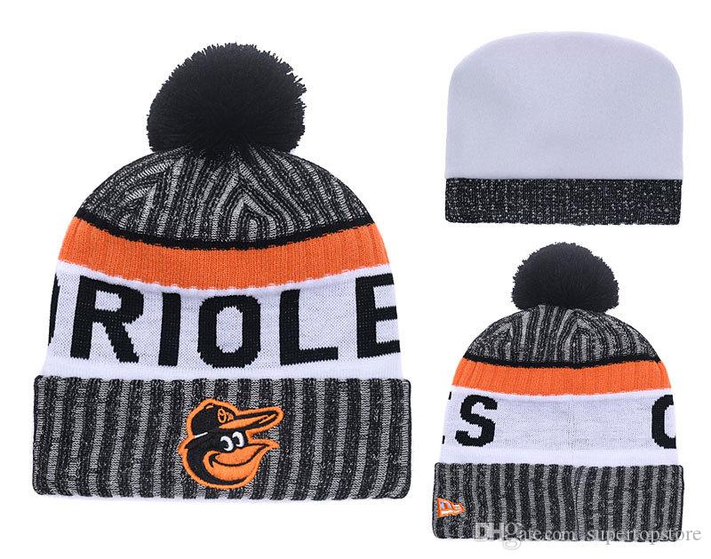 2018 New Sport Orioles Baseball Skullies Hat Pom Cuffed Knitted Hats With Embroidered Team Logo Fans Fashion Winter Warm Women Beanies