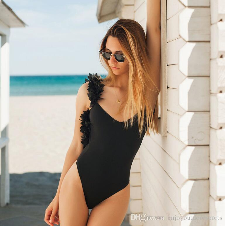 Sexy One Piece Swimsuit Women 2019 Summer Beachwear Black Swimwear ... a3919f132
