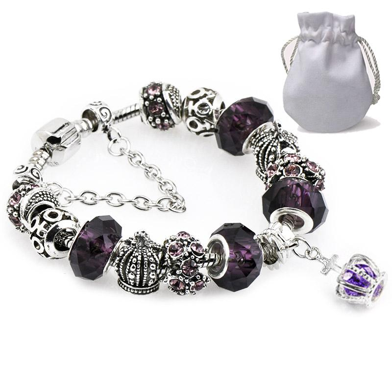 d48a56a4c Charms Bracelets Fit Pandora Faceted Murano Glass Crystal Beads Women Cubic  Zirconia Cross Pendant Silver Crown Bangle Female Jewelry P138 Charm  Bracelets ...