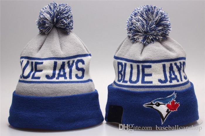 fd2c690fe4e NEW Men S Toronto Blue Jay Knitted Cuffed Pom Beanie Hat Striped Sideline  Warm Giants Baseball Beanie Cap Men Women Bonnet Beanies Skull Hat Winter  Hats ...