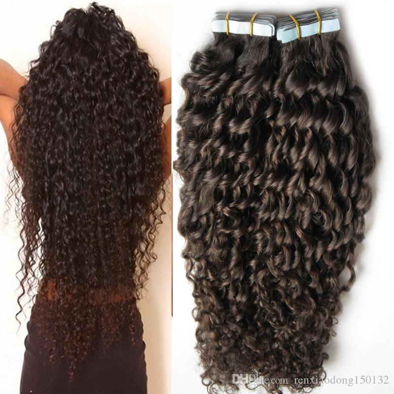"Virgin Curly skin weft tape hair extensions 100g afro 100% European Natural kinky curly 10- 26"" Non Remy Hair Extension 40pcs"