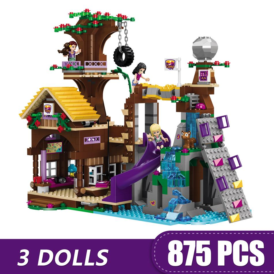 875PCS Small Building Blocks Toys Compatible with Legoe The Adventure Camp Of Tree House Gift for girls boys children DIY