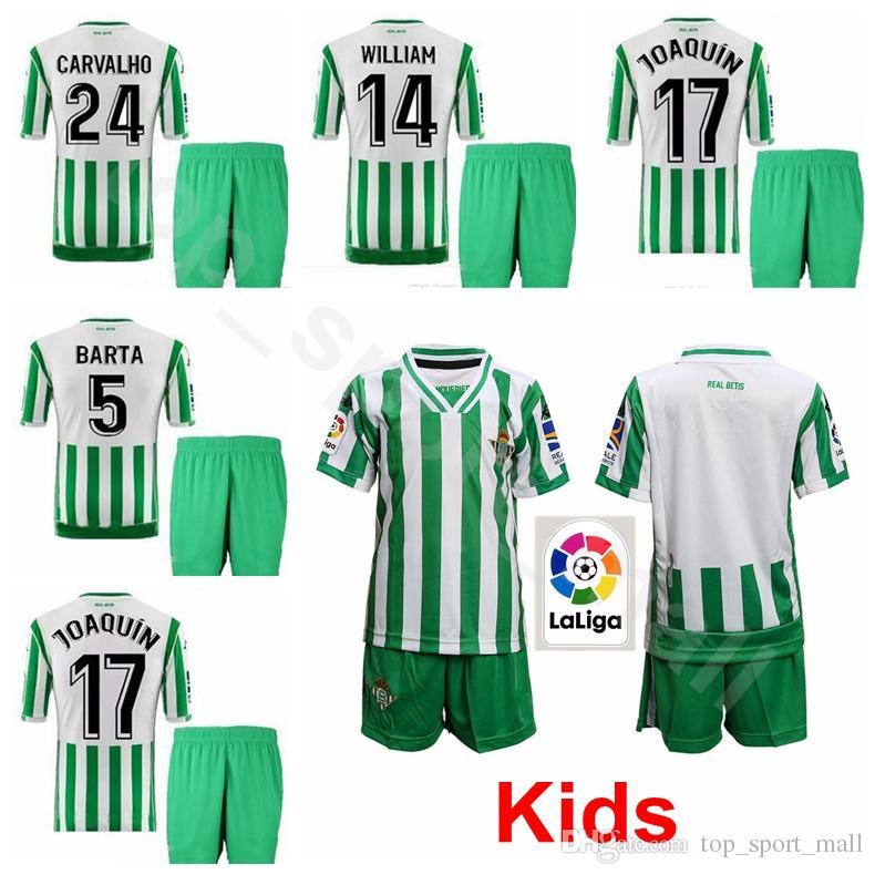 Juvenil JOAQUIN Jersey Niños Real Betis 18 19 Temporada 5 Marc Bartra 11  Cristian Tello 14 William Carvalho Kits De Camiseta De Fútbol Para Niños  Uniforme ... c4700f9a2f3