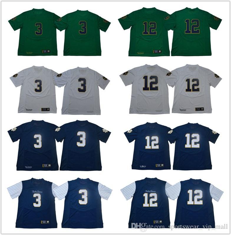 save off 2163a c94fe Men Fighting Irish Jersey #3 Joe Montana #12 Ian Book 33 Josh Adams Green  Navy White 1977 Vintage Norte Dame College Football Jerseys