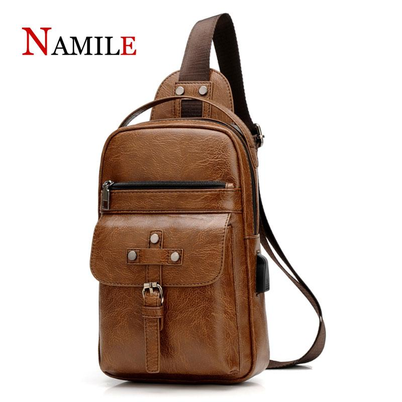 Men's bag 2019 new cross-border custom quality leather shoulder bag men's USB charging chest diagonal package