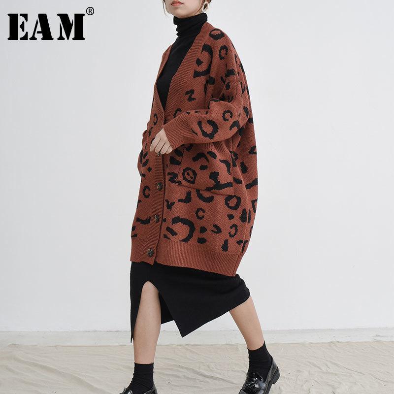 3d1b7d42d9 Acquista EAM 2019 New Spring Con Scollo A V Manica Lunga Leopardo Stampato Allentato  Di Grandi Dimensioni Maglione Lavorato A Maglia Da Donna Shrug Fashion ...
