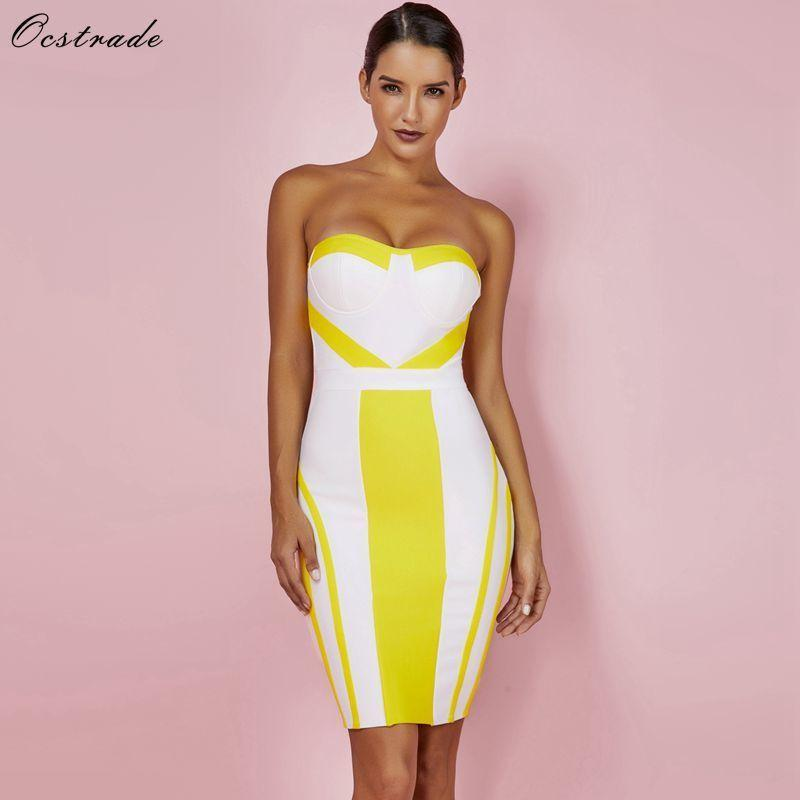 Compre Ocstrade Summer Bandage Dresses Party 2018 Nuevo Strapless Sexy  Bandage Dress Yellow Bodycon Mini Bandage Dress Rayon Xl Y19012201 A  44.99  Del ... 96a876d8477a