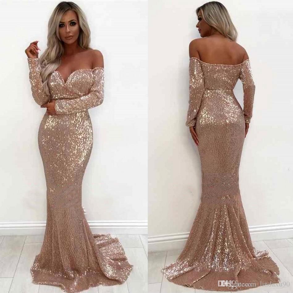 4d67cffb7d0 Shiny Rose Gold Mermaid Evening Dresses Elegant Off Shoulder Long Sleeve  Evening Occasion Gowns Formal Wear Jessica Howard Evening Dresses Large  Size ...