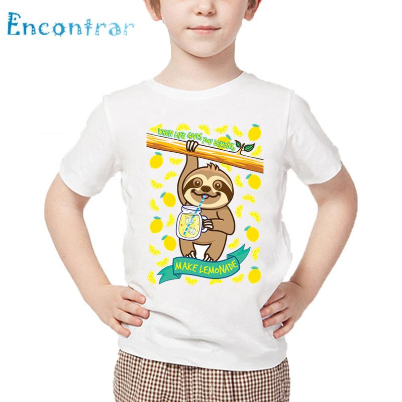 Kids Cute Sloth Drink Juice Print Funny T shirt Baby Summer White Tops Boys and Girls Cartoon Casual T-shirt,HKP5568