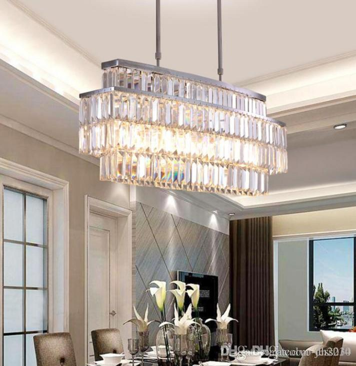 JESS Modern Crystal Chandelier For Dining Room Rectangle Chandeliers Lighting Kitchen Island Crystal Chandelier LLFA Stainless Steel Pendant Light ... & JESS Modern Crystal Chandelier For Dining Room Rectangle Chandeliers ...