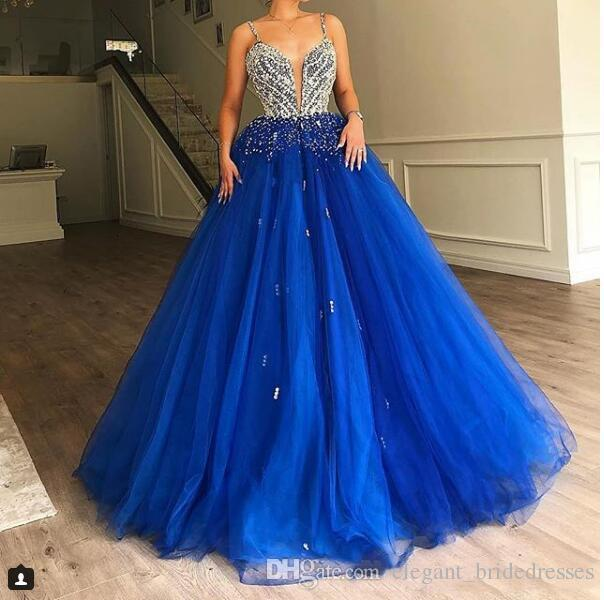 2019 Royal Blue Tulle Long Prom Dresses Diamonds Beads Puffy Train New Elegant Evening Gown Elie Saab Quinceanera Dresses Graduation Dresses