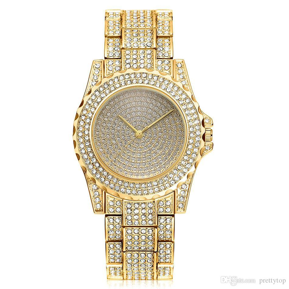 Classic Steel Band Diamond Watch Fashion Quartz Watch Luxury Design Gold Plated Wristband for Woman Gifts Wedding Dress