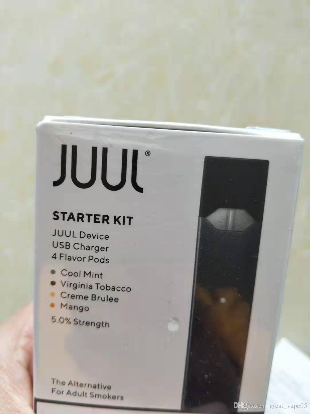 2020 CHEAP Juul Starter Kit With 4 Pods USB Rechargeable Juul With 4 Pods  Vaporizer Juul Vapor Free DHL Shipping
