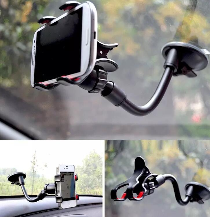 Double Clip Car Mount Flexible Universal Long Arm/neck 360° Rotation Windshield Phone Holder sleep holder for Cell Phones Retail Pack
