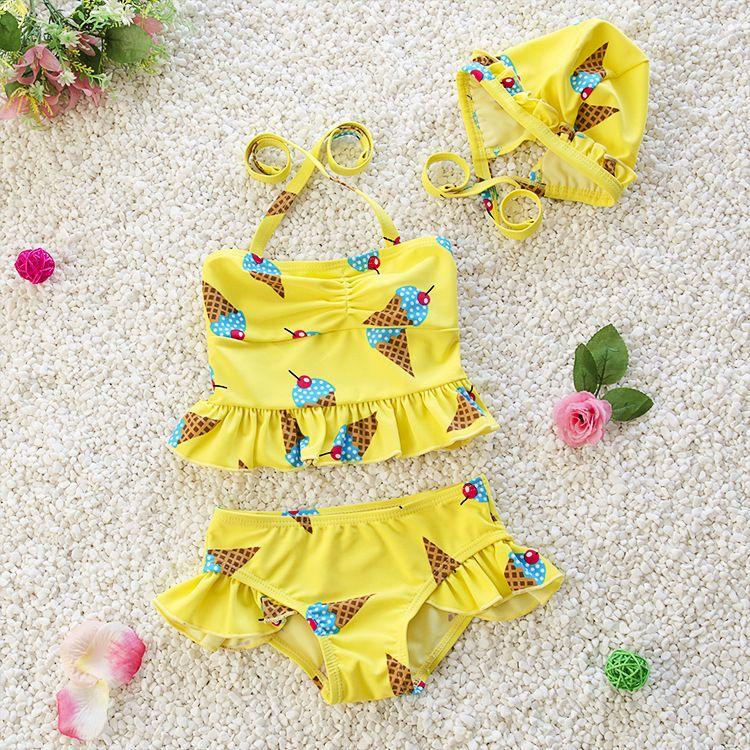 2c6ac2bec 2019 Kids Clothing Girls Swimwear Three Pieces Child Swimsuit Fashion And  Lovely Ruffle Swimwear For Children Bikini Baby Costumes Bathing Suit From  ...