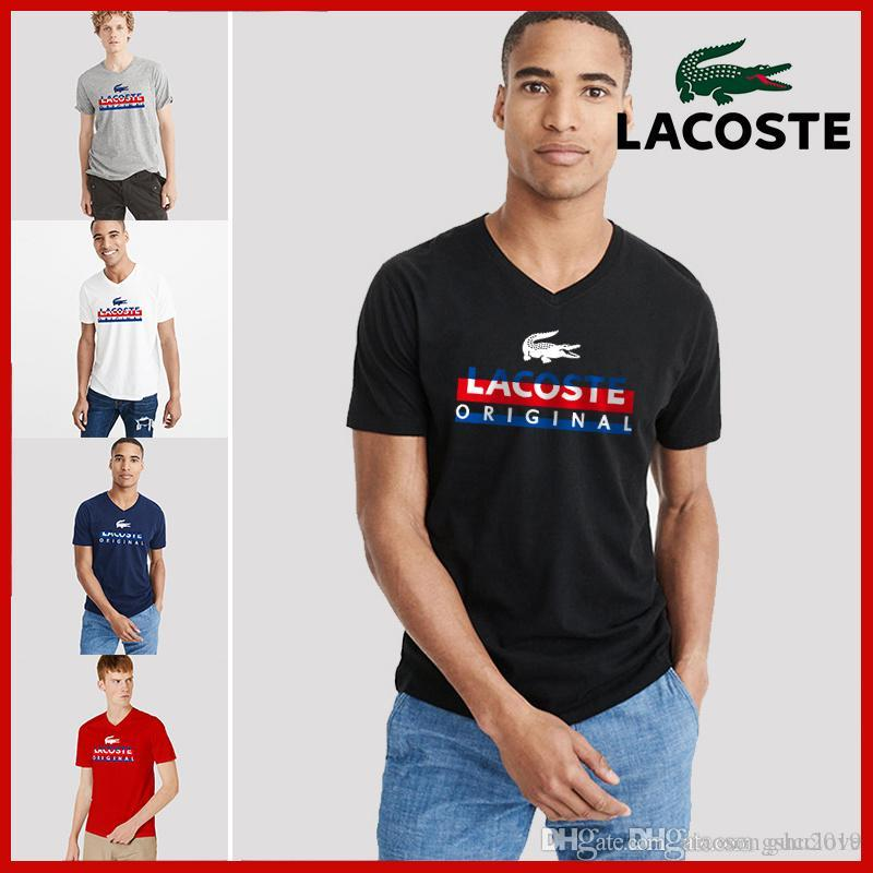 26fb59b51d3b 2019 Hot Sale Men And Women Summer V Neck Red And Blue Crocodile Print  Trend Loose Fashion Personality Couple Short Sleeved T Shirt Funny T Shirt  Awesome T ...