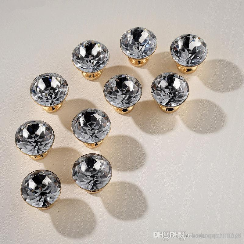 Super Luxury Gold Czech Crystal Round Cabinet Door Knobs and Handles Furnitures Cupboard Wardrobe Drawer Pull Handle