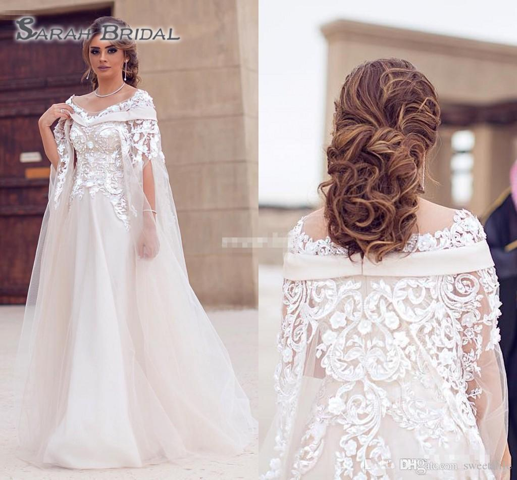 2019 New Saudi Arabic Dubai Wedding Dresses Lace Appliques Sheer Jewel Neck Plus Size Robe De Soiree Long Bridal Gowns