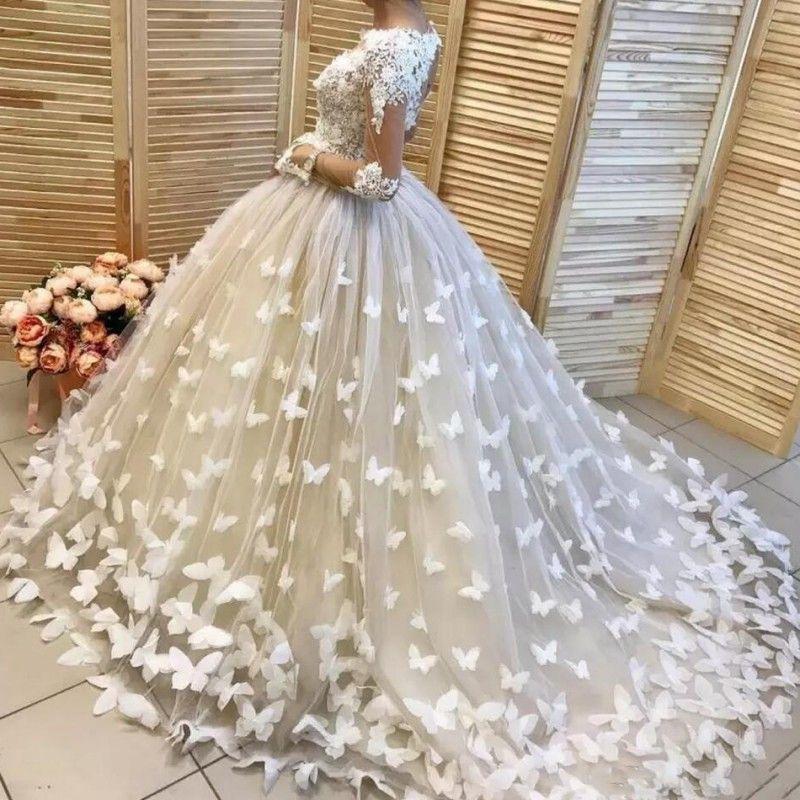 3D Butterflies Appliques Wedding Dresses Lace Top Sheer Long Sleeves ... 44842d50a843