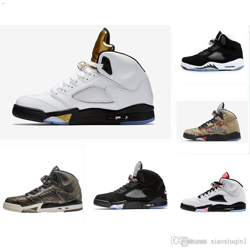 hot sale online 0ed30 3d516 2019 Mens AJ5 Basketball Shoes Retro Jumpman J5 Air Flight AJ 5S Black White  Cement Fire Red Grape Women Kids Sneakers With Original Box From  Xiaoxiuqin1, ...