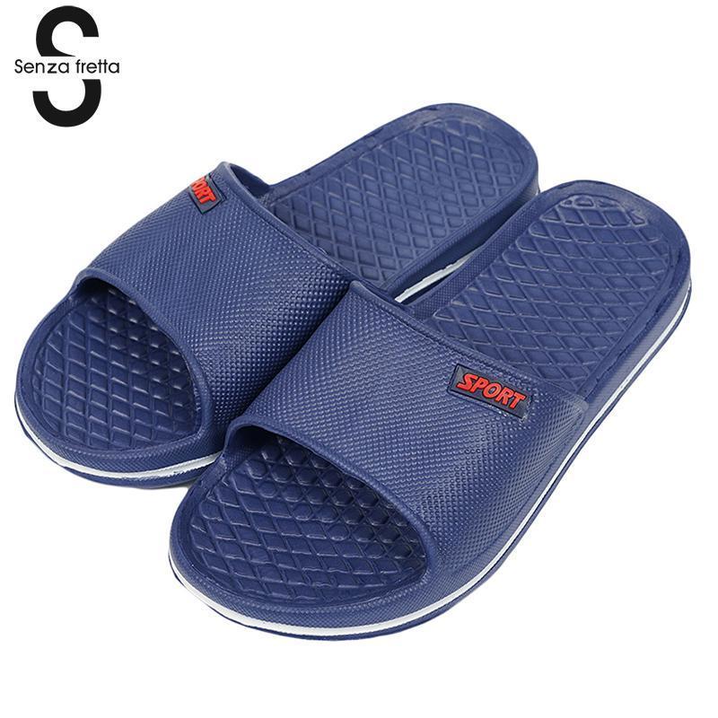 d0c385a08cd31 Senza Fretta Mens Slip On Sport Slide Sandals Flip Flop Shower Shoes  Slippers House Pool Gym Sandal Slippers Men Shoes WS060 Rain Boots For Women  White ...