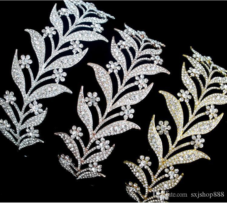 Alloy set with white diamond bride headdress Korean version of the bride's crown leaves styling hair accessories