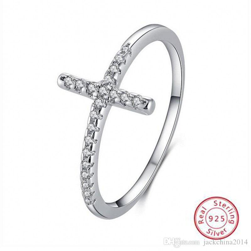 Simple Fashion Jewelry Handmade 100% Pure 925 Sterling Silver Pave White 5A CZ Diamond Gemstones Eternity Women Wedding Cross Band Ring