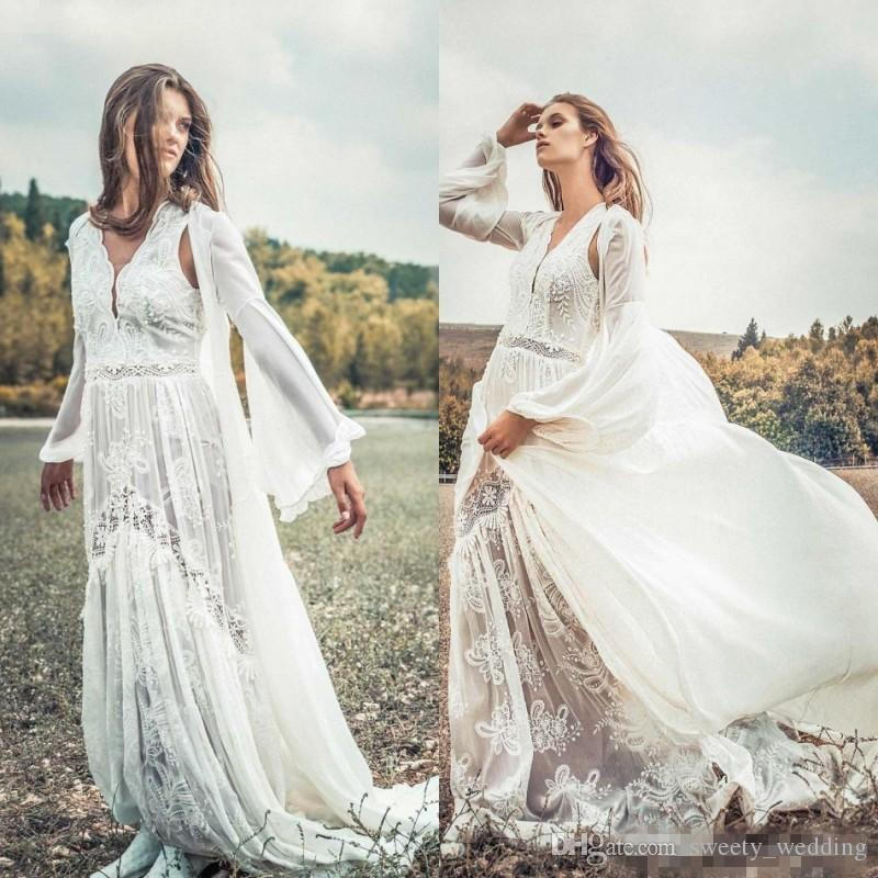 Vintage 2019 Summer Lace Long Wedding Dresses With Jacket Appliqued  Bohemian Bridal Gowns Plus Size Bohemian Beach Wedding Dresses Cheap