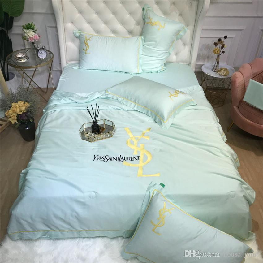 Mint Green Y Letter Summer Quilt Suit Ice Cotton Simple Bedroom Bedding Supplies Embroidery New Light Colored Comforters & Sets