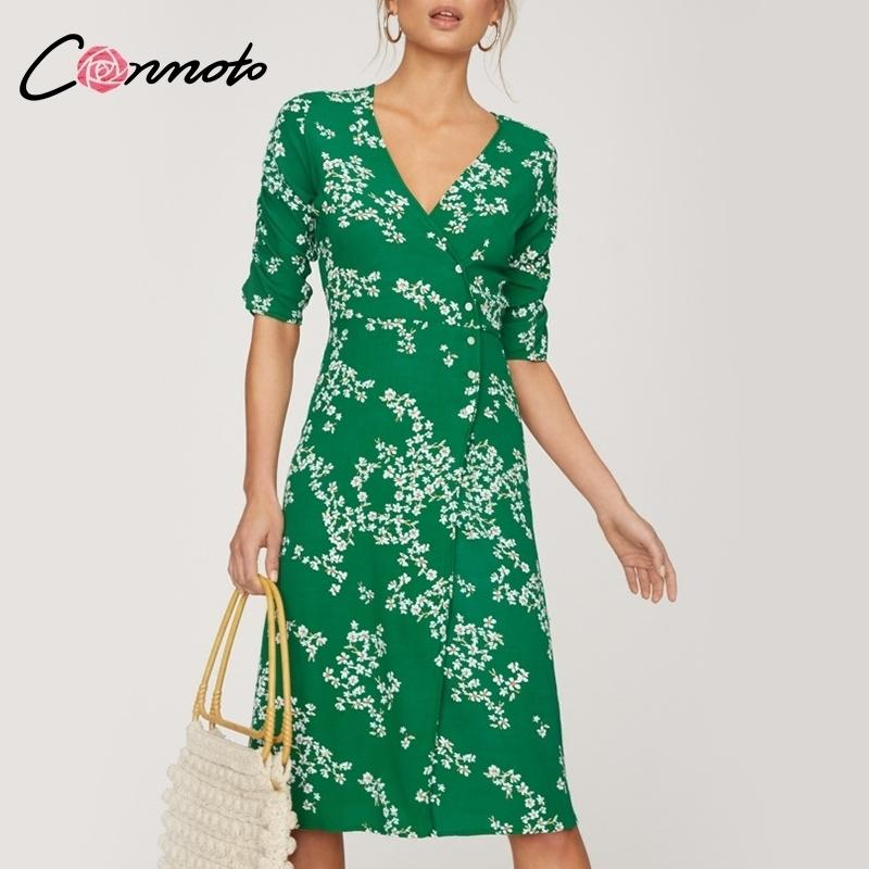 Conmoto Flower Printed Chiffon Dress Women 2019 Primavera Casual Boho Lace up Abito lungo spiaggia alta vita Wrap Sash Dress Vestido T190610
