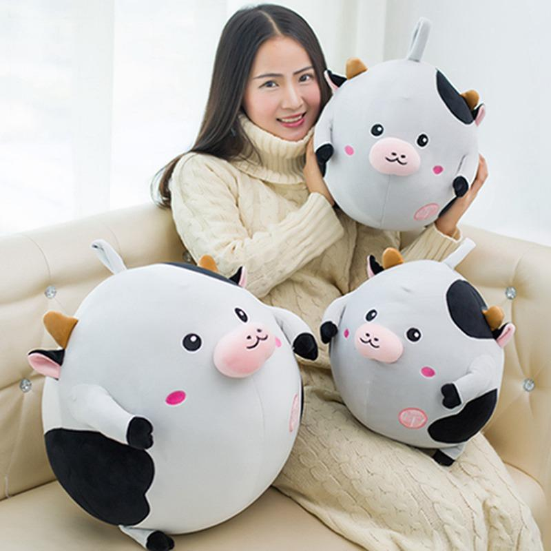 28cm/40cm Soft Kawaii Cow Plush Pillow Sofa Cushion Fat Cartoon Animal Cattle Stuffed Doll Home Decoration Toys Kids Best Gifts