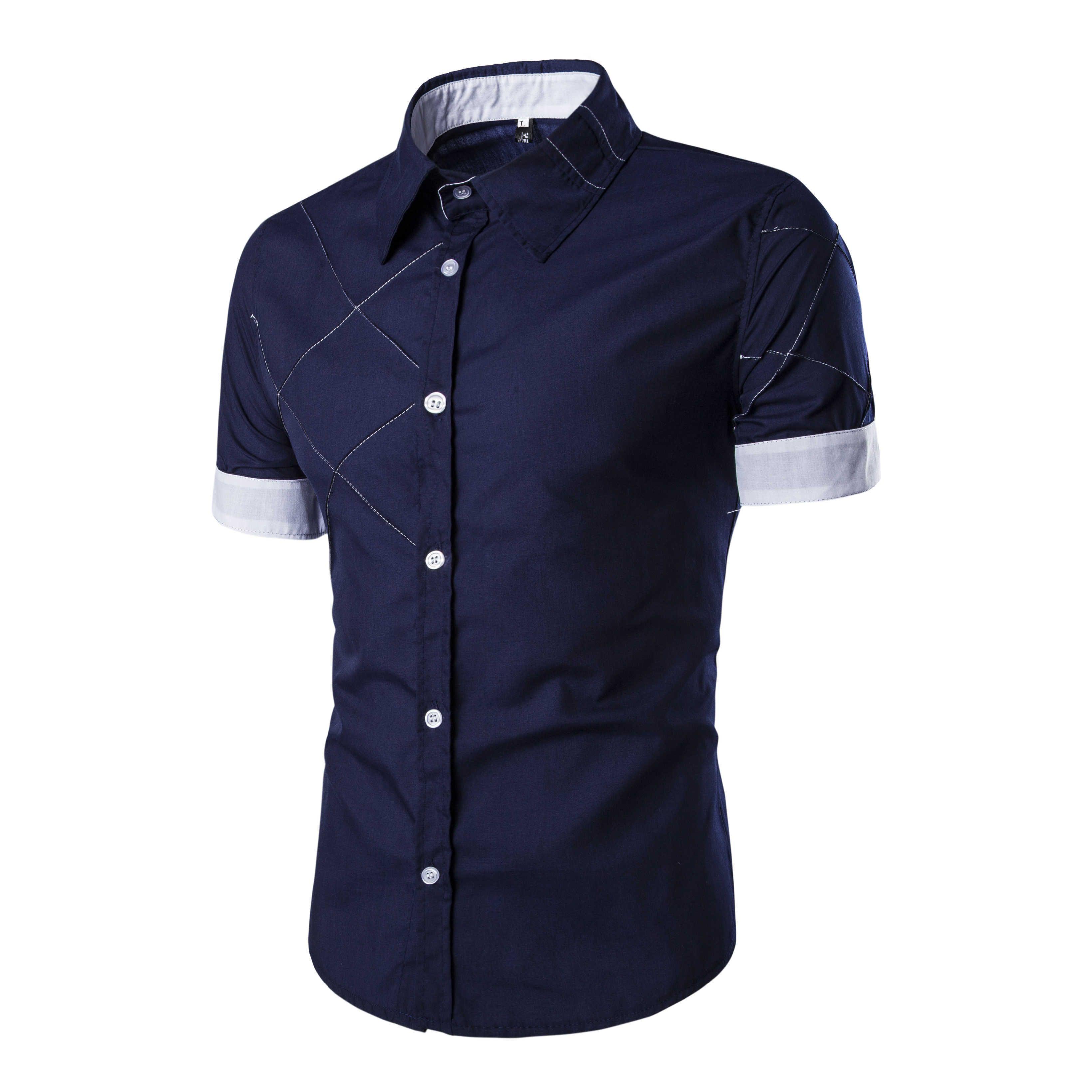 98c077b9cc Compre Homens Camisa De Manga Curta Camisas Masculinas Camisa Dos Homens  Marca Vestido 2019 Mens Camisas De Vestido Havaiano Camisa Social Masculina  Xxxl ...