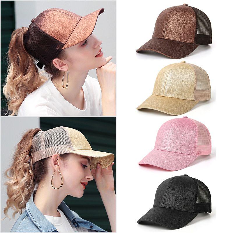 f6ae3c8f3 Wholesale Glitter Ponytail Baseball Cap Women Snapback Hip Hop Caps Female  Sequins Shine Summer Hats Mesh Outdoor Hat Bone