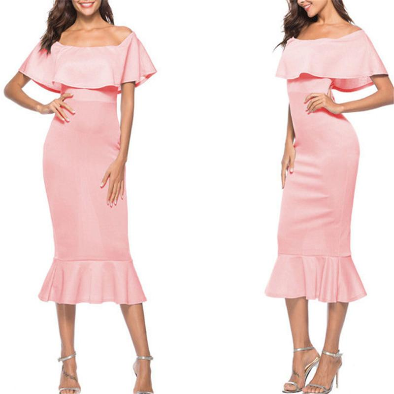 ITFABS Off Shoulder Party Dress Women Ruffles Trumpet Elegant Dress Slim Bodycon Solid color Maxi Dress Size 6-16 White Pink