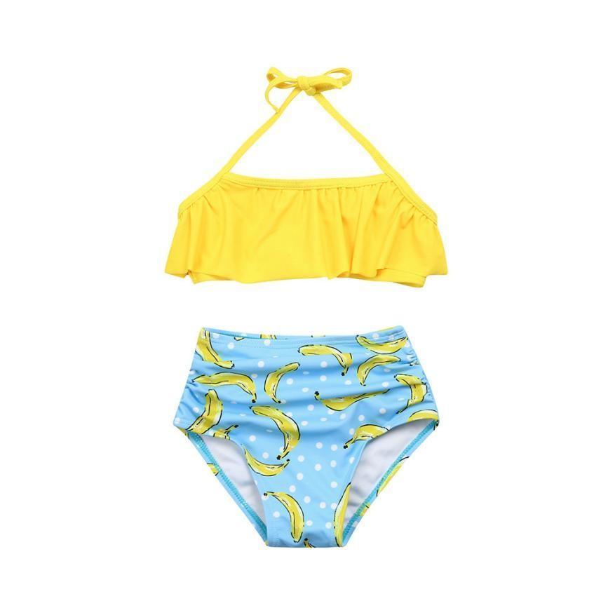 53a614201555 2019 Nuevo Traje de baño para bebé niña Dos piezas Set Niña 2 UNIDS Ruffle  Halter traje de baño Traje de baño Ropa de playa Conjuntos Ropa para ...