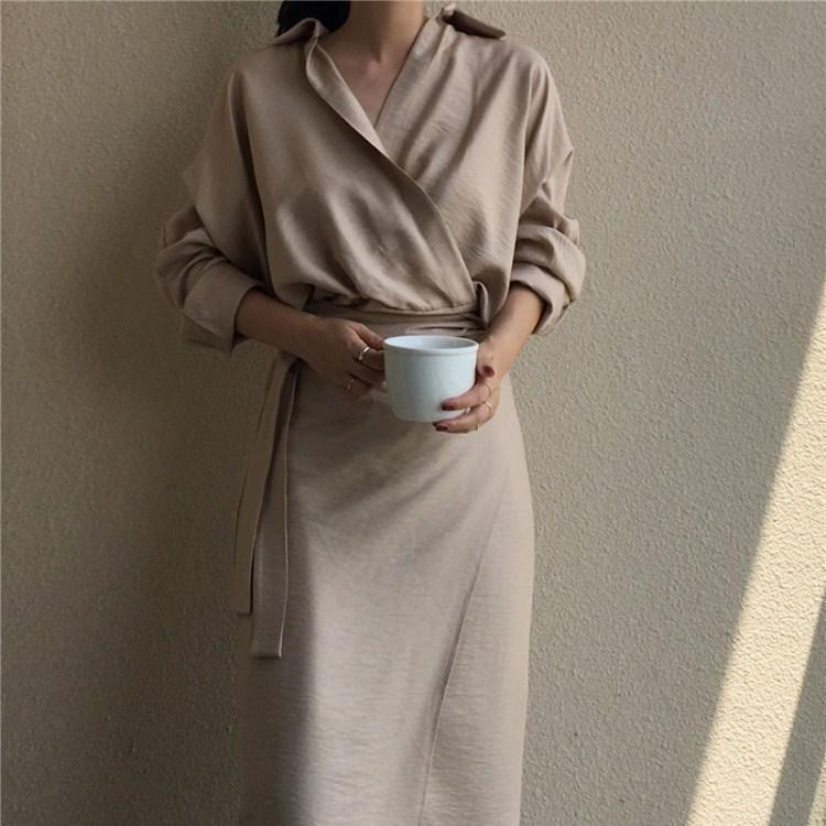 Women Turn-down Collar Long Sleeve Bodycon Dress Female Solid Bandage Shirt Dress Spring Fall Casual Slim Dresses