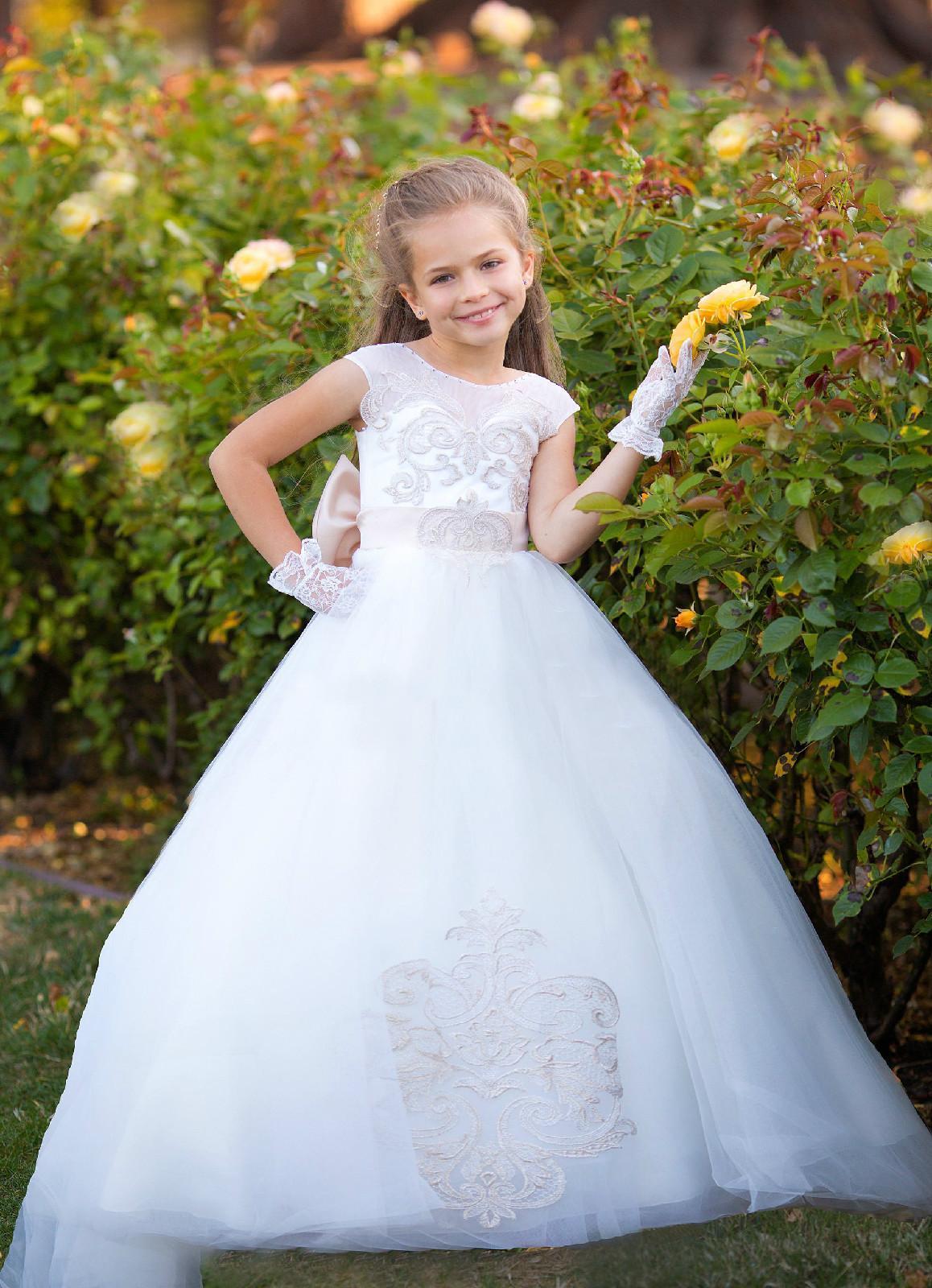 bb78bab190d White Ivory Flower Girl Dress Lace Little Kids Clothing Princess Christmas  Tutu Dress Toddler Special Wedding Formal Occasion Custom Black And White  Flower ...