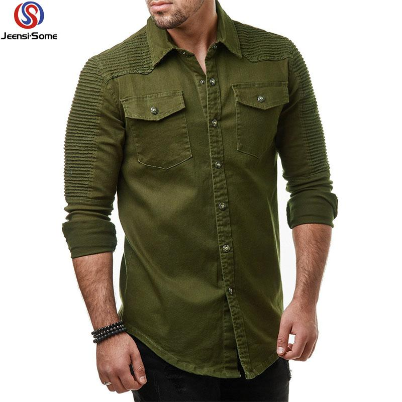 e95f25475f3 2019 Men Shirt Long Sleeve Clothes Style Green Casual Shirt Vintage Mens Clothing  Wear Little Big Plus Size M 3XL From Dalivid