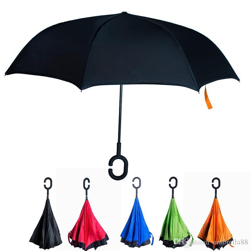 Home Non-automatic Reverse Inverted Folding Umbrella For Rain Gear Women Uv Protection Windproof Rainproof C Long-handle Umbrellas