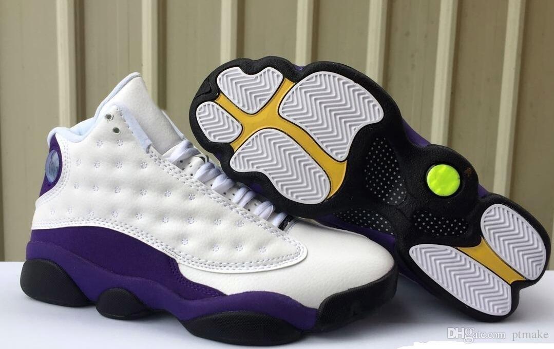 new product 95339 a8ada Retro Big Kids Mens 13 13s Lakers Rivals White Purple Basketball Shoes  Jumpman White Black Court Purple University Gold Sneaker Shoe 7Y-US13
