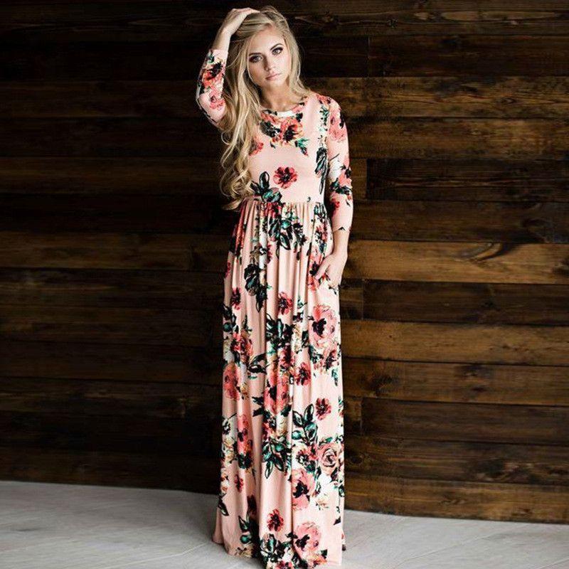 4fb6b2657b New Fashion Women Long Sleeve Dress Vintage Flower Print Party Club ...