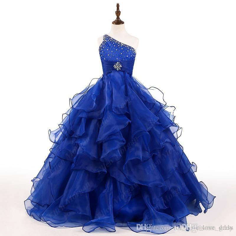 Royal Blue Princess Flower Girl Dresses Bling Bling Crystals One Shoulder Organza Ruffled A-Line Long Girls Birthday Party Gowns