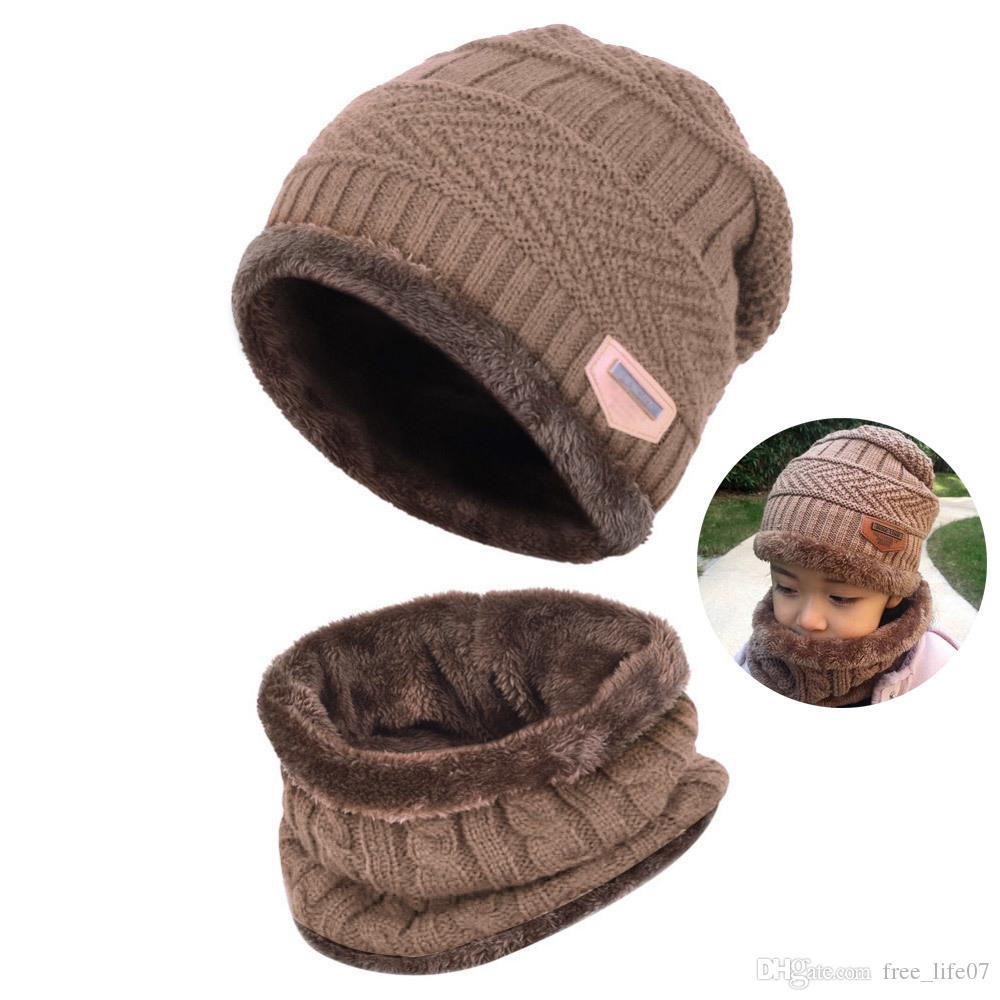 060ed9e74ce Children Boys Winter Thick Knitted Beanie Hat And Scarf Set Toddler ...