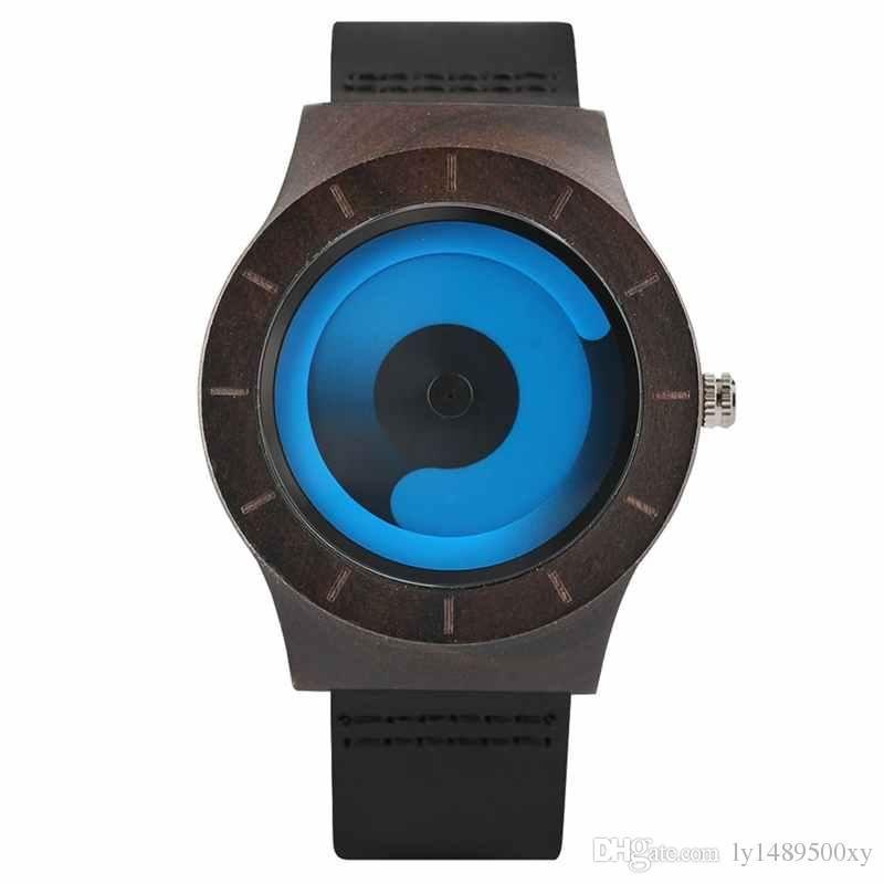0c84820a5 Unisex Vortex Fashion Gradient Color Wooden Watch Unique Aurora Swirl  Quartz Wrist Watch Casual Leather Genuine Clock Gifts For Men Women Buy  Watches Online ...
