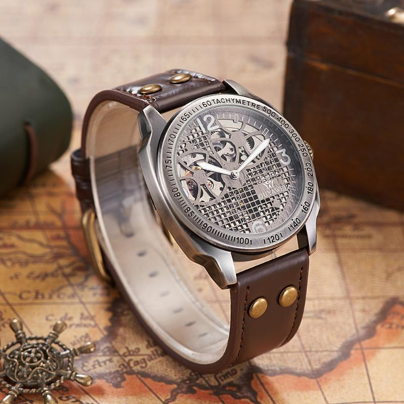 OUYAWEI Self Wind Vintage Mechanical Leather Watch Men Skeleton Automatic Antique Bronze Retro Wristwatch montre homme