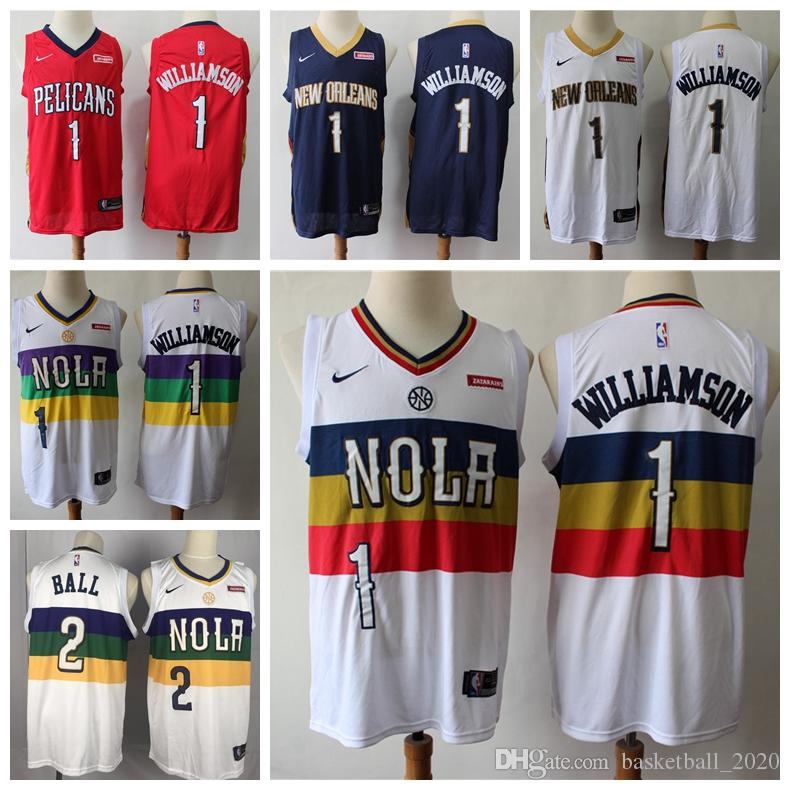 new product 2ecfd 97b8e 2020 New Mens Pelicans 1 Zion Williamson Swingman Jersey Authentic  Embroidery New Orleans 2# Lonzo Ball Pelicans Basketball Jersey Stitched