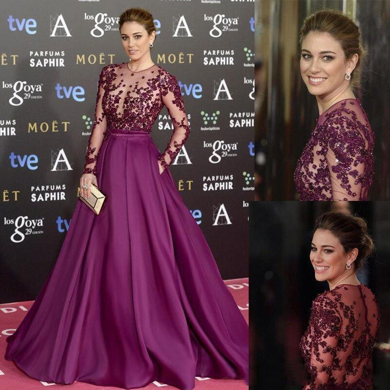 2020 Long Celebrity Dresses Sheer Neck with Long Sleeves Red Carpet Prom Party Gowns Robe de Soiree