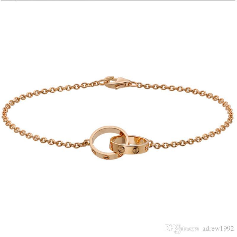 Love Collection 18K Rose Gold Double Ring Love Bracelet B6027000