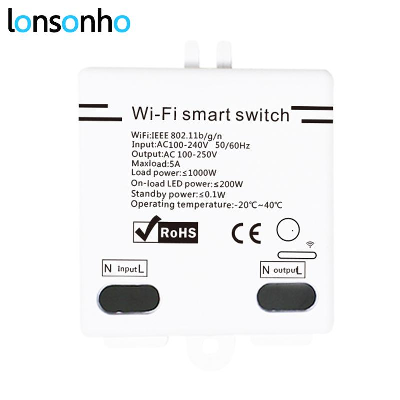 Lonsonho Wifi Switch DIY Relay 5A Smart Home Automation Modules Wireless  Remote Control Works with Alexa Google Home Mini IFTTT
