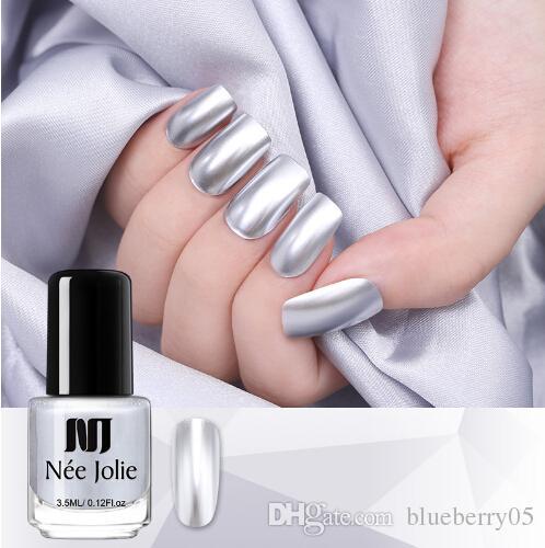 Nail Polish Varnish Mirror Effect Metallic Silver Chrome Nail Art ...